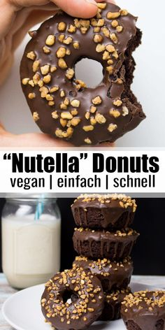 """Vegan """"Nutella"""" donuts - Vegan Heaven Rezepte ♡ - These vegan chocolate donuts with hazelnut brittle are an absolute dream! They are """"Nutella"""" donuts - Vegan Baking Recipes, Delicious Vegan Recipes, Healthy Dessert Recipes, Cake Recipes, Yummy Food, Nutella Recipes, Chocolate Vegan Dessert Recipes, Yummy Snacks, Cookies Healthy"""
