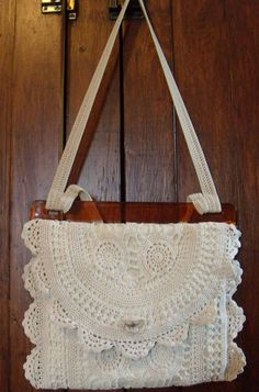 Upcycled Linen & Lace Purse / Vintage Lace by SmallbonesJane, $38.00