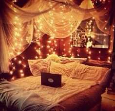Fairy Lights Around The Bed :) Great Idea For A Little Girls Room,  Comfy,cozy For Those Bedtime Stories. Little Girls Room? This Would Look  Great In My ... Part 7
