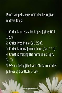 Paul's gospel speaks of Christ being five matters to us: Christ is in us as the hope of glory (Col. 1:27). Christ lives in us (Gal. 2:20). Christ is being formed in us (Gal. 4:19). Christ is making His home in us (Eph. 3:17). We are being filled with Christ to be the fullness of God (Eph. 3:19). More at www.agodman.com