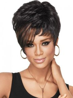 short dramatic synthetic wig, human african american wigs