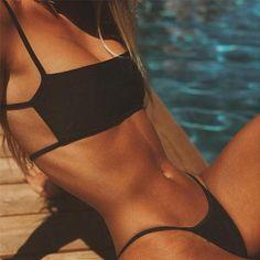 Cut out bikini sexy women bandeau Swimwear two piece push up bathing suit beach wear summer Swimming suit femme biquini set Bikini Swimwear, Sexy Bikini, Bikini Girls, Bikini Tops, Bikini Bottoms, Sporty Bikini, Girls In Bikinis, Cheeky Bikini, Halter Bikini