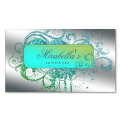 Glitter Nail Salon Appointment Elegant Bling Business Card Template