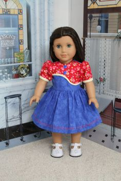 18 inch American Girl Red and Blue Flower Doll Dress by CrazyLadyDollClothes on…