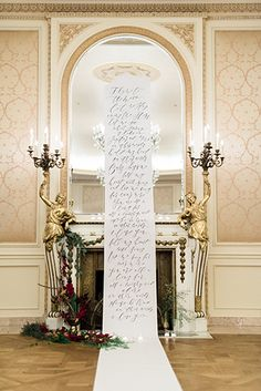 Westgate Hotel Wedding Ceremony with Calligraphy Aisle Runner.