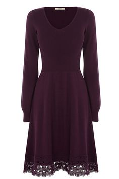 In a thin knit material, this lace trim skater dress will look perfect with cable knit tights, a winter coat and a bobble hat.