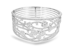 From The Alson Signature Collection, a Diamond Bangle Bracelet, Fashioned in White Gold and Featuring 483 Round Diamonds Equaling Carats, in a Wide Split Flower Design. Bangle Bracelets, Bangles, Wedding Day Jewelry, Baubles And Beads, Diamond Bangle, Signature Collection, Flower Designs, Round Diamonds, Birthstones