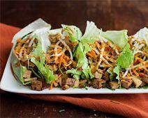 Thai Tofu Lettuce Wraps with Peanut Sauce
