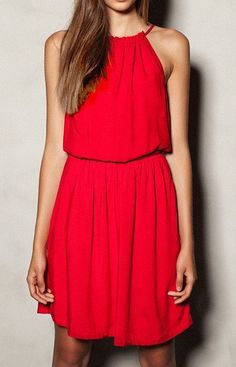 Elastic Red Basic Dress