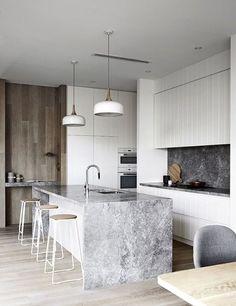 Elegant White Kitchen Design Ideas For Modern Home Kitchen Beautiful Modern Marble Kitchen Ideas 20 Modern Kitchen throughout ucwords] Home Decor Kitchen, Kitchen Furniture, Kitchen Interior, New Kitchen, Kitchen White, Kitchen Ideas, Kitchen Wood, Awesome Kitchen, Modern Interior
