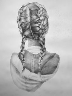 In her unique Reversed Portrait series, artist Nettie Wakefield depicts people from behind. Each reversed portrait showcases her amazing drafting skills. Drawing Sketches, Cool Drawings, Pencil Drawings, Drawing Ideas, Sketching, How To Draw Braids, How To Draw Hair, Hair Sketch, Drawn Art