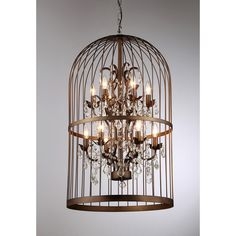 The distinctive cage-design of this chandelier is sure to draw compliments as it illuminates your home. Casting light through its crystals, it creates a sparkling display that is warm and inviting.