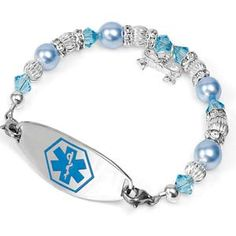 Icy Blue Winter Style Medical Alert Bracelets for Women -- add custom engraving to the inside of the medical tag. Gifts For Diabetics, Medical Id Bracelets, Custom Engraving, Swarovski Crystals, Diabetes Supplies, Beaded Bracelets, Bling, Epilepsy, Winter Style