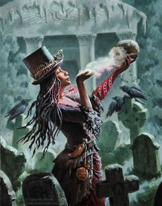 f Sorcerer cemetery Crypt Voodoo Queen (Woman of Power) – Christine Mitzuk Art Black Girl Art, Black Women Art, Black Art, Art Girl, Orisha, Fantasy Kunst, Fantasy Art, Voodoo Costume, Voodoo Priestess Costume