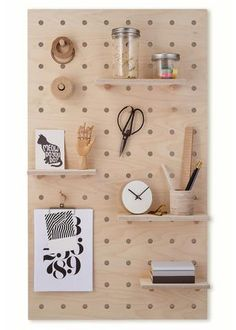 This playful hanging pegboard panel works as a vertical storage element to hang coats, hats, bags, shoes. Pegs and shelves can be arranged according to your needs. Peg Board Walls, Peg Boards, Diy Peg Board, Pegboard Storage, Large Pegboard, Peg Wall, Do It Yourself Organization, Room Divider Screen, Large Shelves