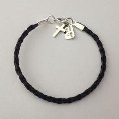 Boys Fashionable trendy Leather First Communion Bracelet with Cross and Personalised Tag