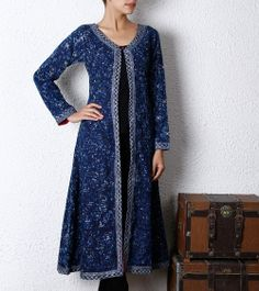 Indigo Cotton Long Jacket