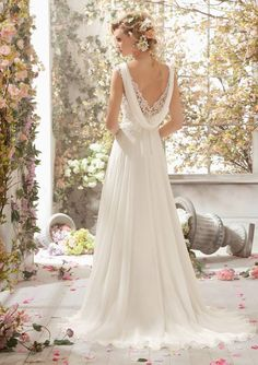 Cowl back with lace insert. Mori Lee Voyage Bridal Collection 2014