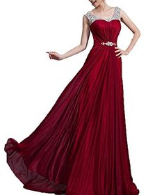 Enlishop Women Wine Red Floor Length Beading Chiffon Formal Evening Prom Dress -- More info could be found at the image url.