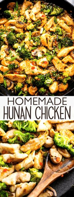 This quick and easy Hunan Chicken stir fry recipe pairs juicy chicken and tender vegetables with the best sweet and spicy Hunan Sauce! Easy Chicken Recipes, Turkey Recipes, Easy Dinner Recipes, Asian Recipes, Easy Meals, Oriental Recipes, Asian Foods, Chinese Recipes, Chinese Food