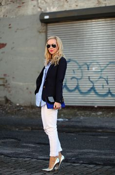 Preparatory Edge - Fitted jeans, a tee or button down, a blazer on top + some killer shoes