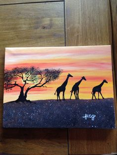 Safari painting, giraffes strolling at sunset. Fi Griffiths-2014 Acrylic paints on Canvas
