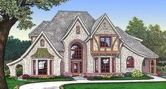 Plan W48276FM: French Country, European, Corner Lot House Plans & Home Designs 2953 sq ft. Nice stairway, 4 car garage, 3 bedrooms upstairs w/ attic space, master and study on main floor, kitchen island!**
