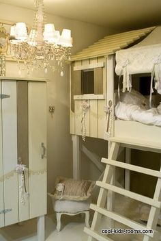 shabby chic girl's room...the chandelier is just what Sis is looking for!