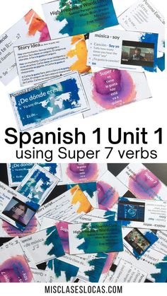 High Frequency Verb unit to start Spanish 1 using the Super 7 verbs in the present tense. Ready to go plans for the 1st 2 weeks of Spanish 1 using comprehensible input.