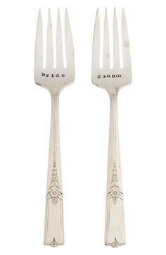 Milk and Honey Luxuries 'Bride & Groom' Vintage Wedding Forks (Set of 2) available at #Nordstrom