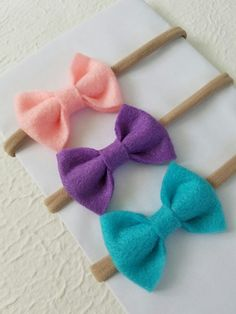 Felt Bows - Baby Bows - Nylon Headbands - Baby Headband Set - Turquoise Bow - Headband Set - Pink felt Bow - Felt baby bow -Newborn felt bow