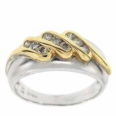 0.35 Cttw IGL Certified Round Diamonds Cocktail Ring 14K Two Tone Gold Satin #Cocktail #Certified #Diamonds #Ring #14K #Two #Tone #Gold #Satin #Finish #Christmas #Gift