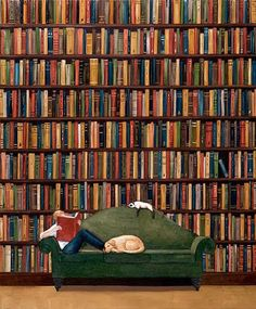 In library / En la Biblioteca need to add another cat and dog to this pic to make it perfect I Love Books, Books To Read, My Books, Reading Art, World Of Books, Book Nooks, Library Books, Dream Library, Book Lovers