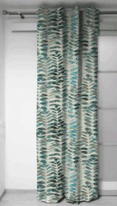 Curtains panels in fabric Feuilles de Pacane Blue, Home Decor, Drapery 54'' large