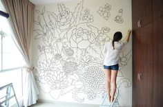 A sharpie wall mural doodled entirely with sharpies within a period of 3 days. The design incorporates flowers in the chinese culture to bring in good health and prosperity. Peonies considered the…