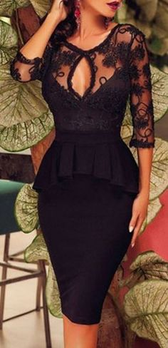 Super Sexy LBD Fashion! Sexy Black Lace See-Through Ruffles Spliced Solid Color Bodycon Dress #Sexy #Little #Black #Dress #LBD #Party #Dress
