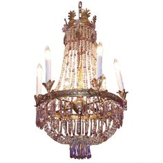 French Gilt Bronze and Crystal Amethyst Chandelier | From a unique collection of antique and modern chandeliers and pendants at https://www.1stdibs.com/furniture/lighting/chandeliers-pendant-lights/
