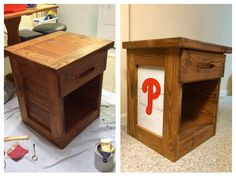 Repurposed This End Up Night Table, Baseball Phillies Theme