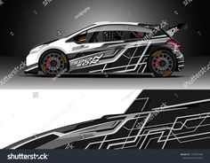 Podobne obrazy, zdjęcia stockowe i ilustracje wektorowe: Car wrap graphic vector. Abstract stripe racing background kit designs for wrap vehicle, race car, rally, adventure and livery — 1177072393 Car Stickers, Car Decals, Megane Rs, Moto Car, Chevrolet Spark, Mini Trucks, En Stock, Car Wrap, Rc Cars