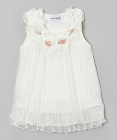 This White Flower Pleated Chiffon Swing Dress - Toddler & Girls is perfect! #zulilyfinds