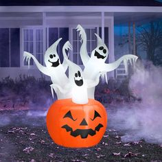 6.5' Tall Airblown Inflatable Halloween Ghost Trio