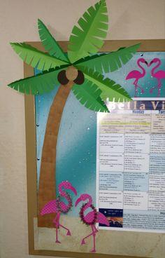 Tropical summer luau bulletin calendar board. Pink flamingo, palm tree, leis, Life's a beach cricut.