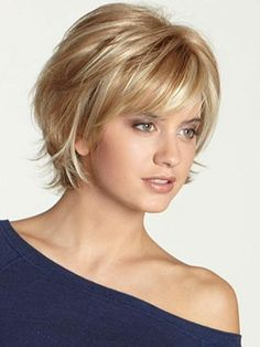 Monofilament top allows this short wig to be brushed and parted several ways.