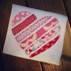 Shabby Heart Appliqued Shirt - Valentine's Day. $24.00, via Etsy.