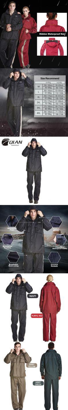 QIAN RAINPROOF Impermeable Raincoat Women&Men Suit Rain Coat Outdoor Hood Motorcycle Raincoat Fishing Camping Rain Gear Poncho
