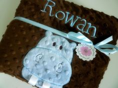 PERSONALIZED baby blanket minky  baby hippo blue by mylilluvbug, $49.99  Rachel's little boy.