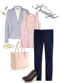 """""""Seersucker Blazer and Minnie Pants"""" by rockinthecrew ❤ liked on Polyvore"""
