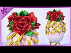DIY How to make artichoke ribbon Easter egg and kanzashi roses (ENG Subtitles) - Speed up #459 - YouTube