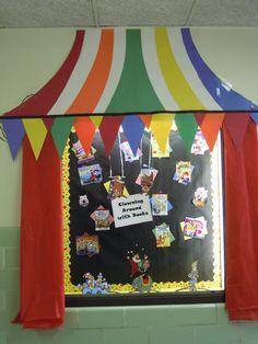 This presentation heading Preschool Circus, Circus Crafts, Carnival Crafts, Carnival Themes, Circus Art, Preschool Ideas, Preschool Crafts, Carnival Bulletin Boards, Circus Theme Classroom