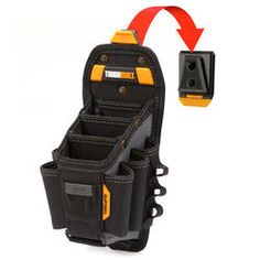 Toughbuilt in. 15 Compartment Large Technician 10 Pocket Pouch Dimensions: x x in. Constructed of polyester Clips on and off any belt ClipTech hub included 3 adjustable tool pockets Diy Leather Tool Pouch, Tool Belt Pouch, Belt Storage, Tool Storage, Secure Storage, Electrician Tool Pouch, Work Belt, Pocket Notebook, Utility Pouch